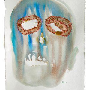 o.T., Aquarell mit Übernähung auf Papier, 40 cm x 28 cm, 2011