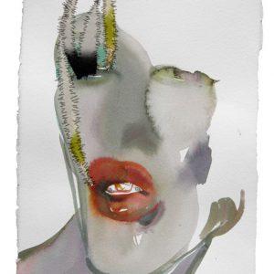 o.T., Aquarell mit Übernähung, 40 cm x 28 cm, 2011