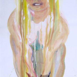 o.T., Aquarell & Tusche auf Papier, 110 cm x 83 cm, 2015
