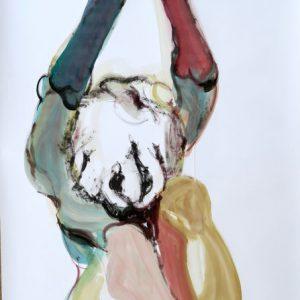o.T., Aquarell & Tusche auf Papier, 110 cm x 84 cm, 2016