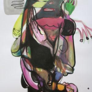 Sarah meets Kali, Mischtechnik auf Papier, 130cm x 85cm, 2018