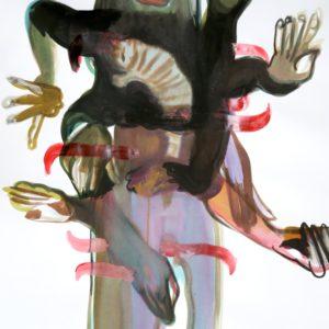 Kali and the cat, Mischtechnik auf Papier, 130cm x 85cm, 2018