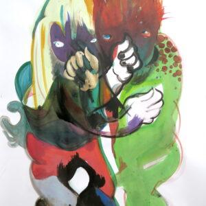 o.T., Mischtechnik auf Papier, 130cm x 70cm, 2020