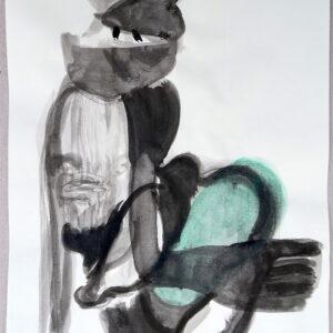 """""""Totentanz"""", Mischtechnik auf Papier, 29.5cm x 20cm, 2019"""