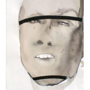 o.T., Aquarell mit Übernähung auf Papier, 40 cm x 28 cm, 2010