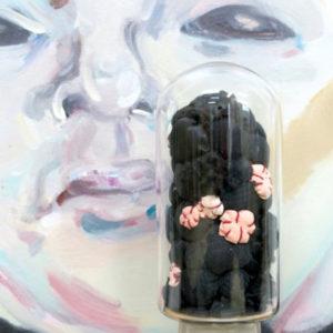 Le petit caprice de Dieu, 2-teilig, Stoffe, Fell, Schauglas mit Radiographie, Höhe 23cm, (Umfang) 9,5cm, 2017