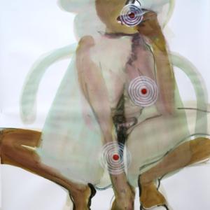 o.T., Aquarell & Tusche auf Papier, 110 cm x 83 cm, 2016