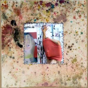"o.T. aus der Serie ""studiojumps"", Fotografie auf bemalter Leinwand, genäht, 1/3, ca 38cm x 32cm, 2017"