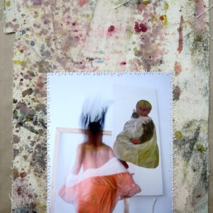 "o.T. aus der Serie ""studiojumps"", Fotografie auf bemalter Leinwand, genäht, 1/3, ca 38cm x 32cm, 2005/2018"