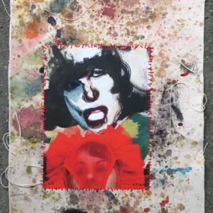 "o.T. aus der Serie ""studiojumps"", Fotografie auf bemalter Leinwand, genäht, 2/3, ca 38cm x 32cm, 2017"