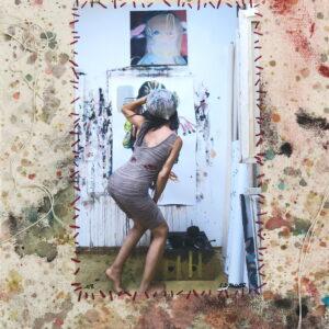 "o.T. aus der Serie ""studiojumps"", Fotografie auf bemalter Leinwand, genäht, 1/3, ca 38cm x 32cm, 2018"
