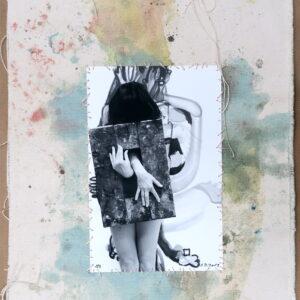 "o.T. aus der Serie ""studiojumps"", Fotografie auf bemalter Leinwand, genäht, 1/3, ca 38cm x 32cm, 2019"